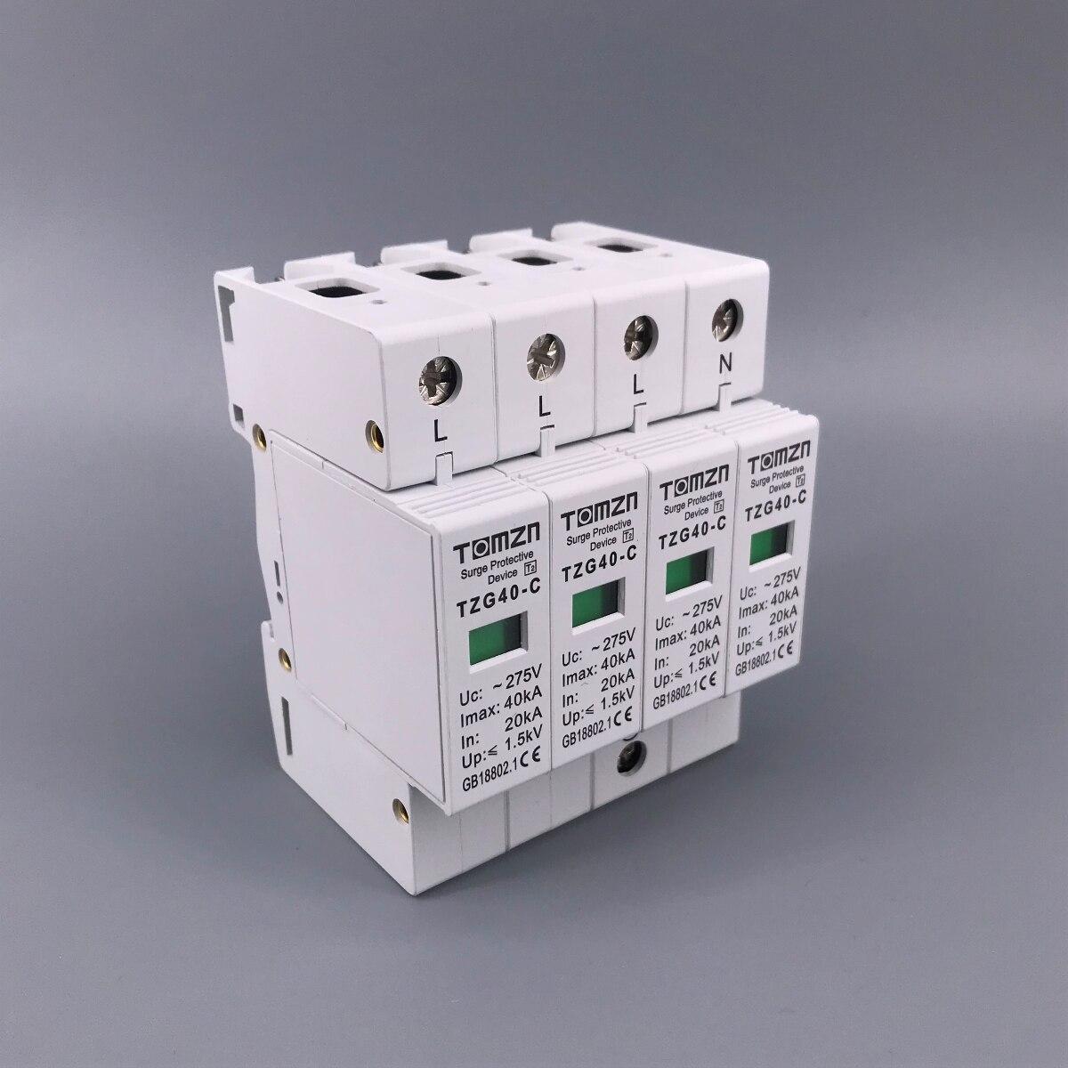 AC SPD 4P 20KA~40KA 275V  House Surge Protector protection Protective Low-voltage  Arrester Device